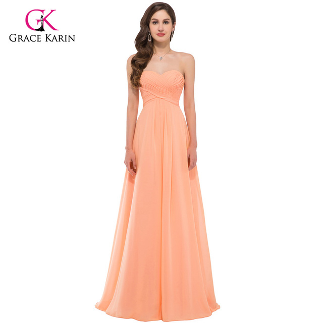 Vestidos de baile 2017 graça karin elegante orange off the shoulder querida vestido de noite para a graduação chiffon prom vestidos longos