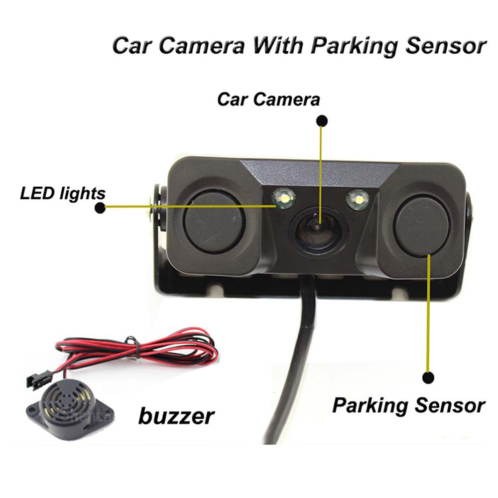2017 New 3 in 1 Sound Alarm Parking Assistant System <font><b>Radar</b></font> <font><b>Detector</b></font> Sensor Car Reverse Backup LED Rear HD View Camera