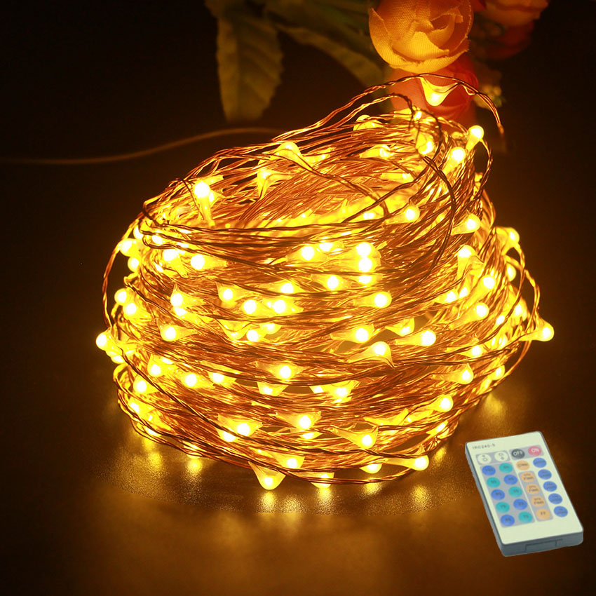 5M 10M 20M 30M 50M LED String Lights Outdoor Christmas Fairy Light Copper Wire Warm White With DC 12V Power Adapter Remote contr стоимость