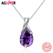 AGLOVER Solid 925 Sterling Silver Women Necklace Flickering Water Drop Zircon Design Ladies Pendant Necklaces Jewelry
