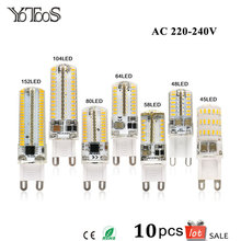 10pcs Lot G9 Led Lamp AC 220v Light Bulbs 360 degree Warm Cool White Spotlight Replace Halogen Lamps Candle Chandelier Lights
