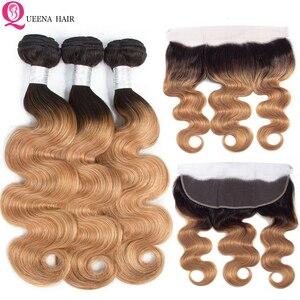 1B/27 камбоджийские волосы, фронтальные с пучками, предложения, объемные волнистые волосы, Омбре, медовый блонд, пучки с фронтальным закрытием...