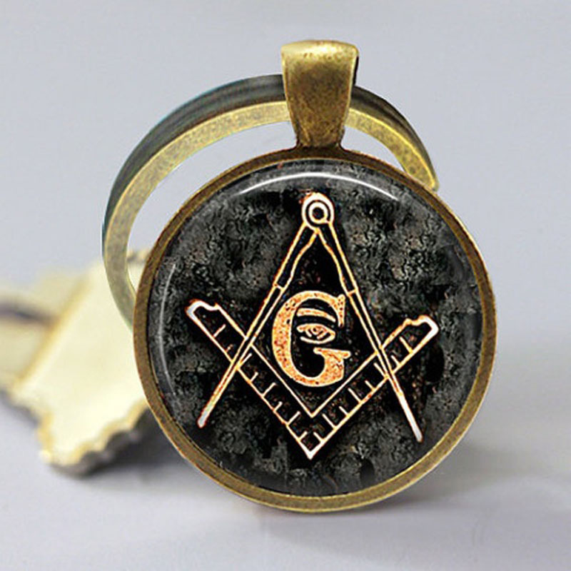 1PC Freemasonry Key Chain Square and Compass Secret Society Freemason Masonic Symbol Keychain Glass Cabochon Charm Key Ring Gift hot theme masonic freemason freemasonry g pocket watch men gift watch free shipping p1198