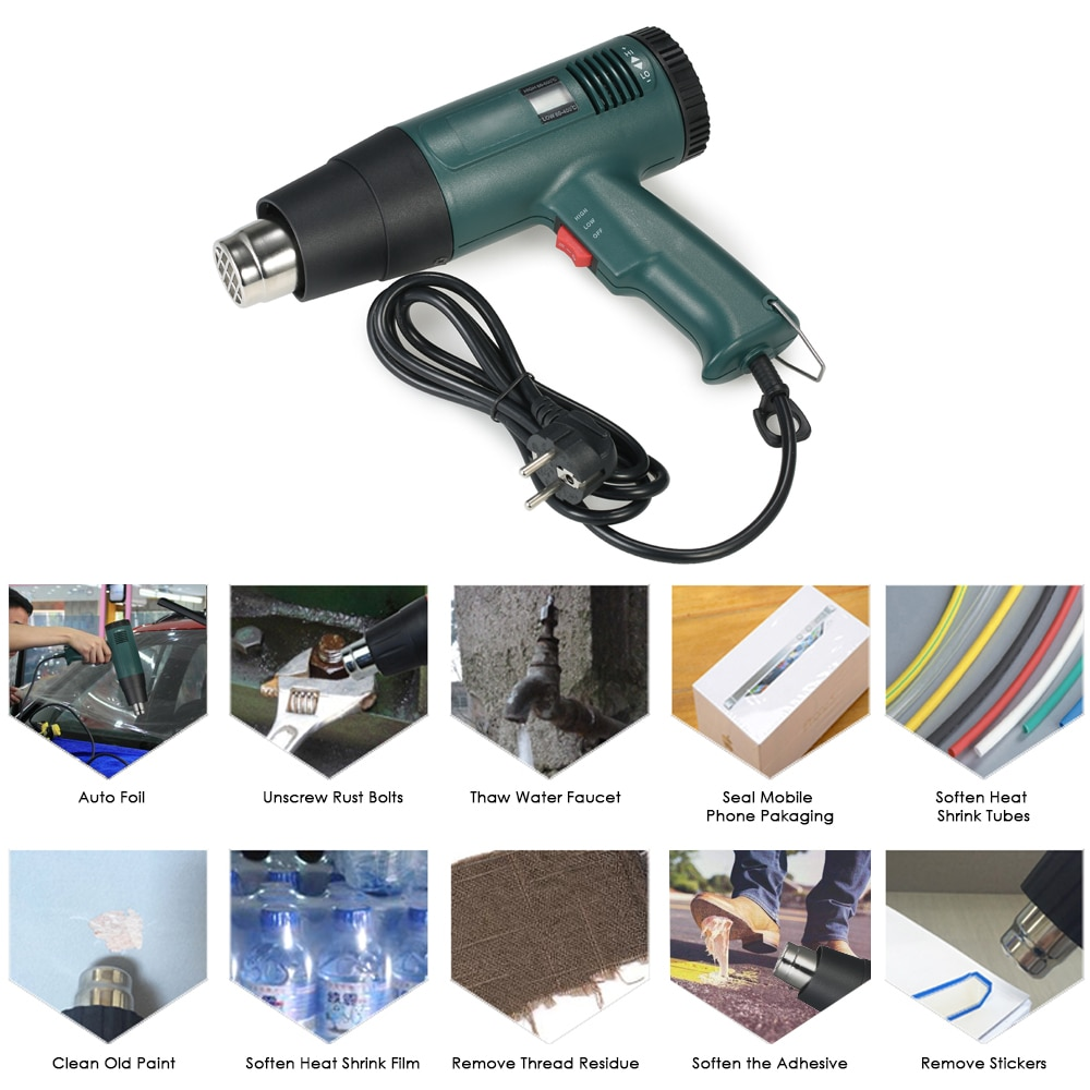 Image 2 - Digital Hot Air Gun Temperature controlled Heat Gun Hair dryer Soldering hairdryer Gun build tool  with 4pcs Nozzle 1800W AC220V-in Heat Guns from Tools on