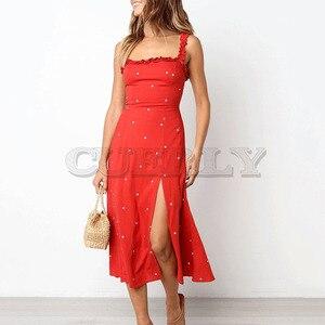 Cuerly 2019 summer dot print sundress women casual split boho beach knee length dress female vestidos L5