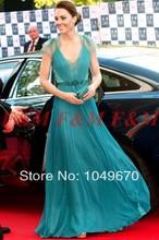 2016 Sexy V-ausschnitt Cap Sleeves Spitze Abendkleider Kate Middleton Jenny Packham Grün Berühmtheits-roter Teppich Kleider F & M922