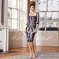 Nova Moda Elegante Strapless Decote applique sobre o Tule Na Altura Do Joelho Comprimento Mãe Dos Vestidos de Noiva