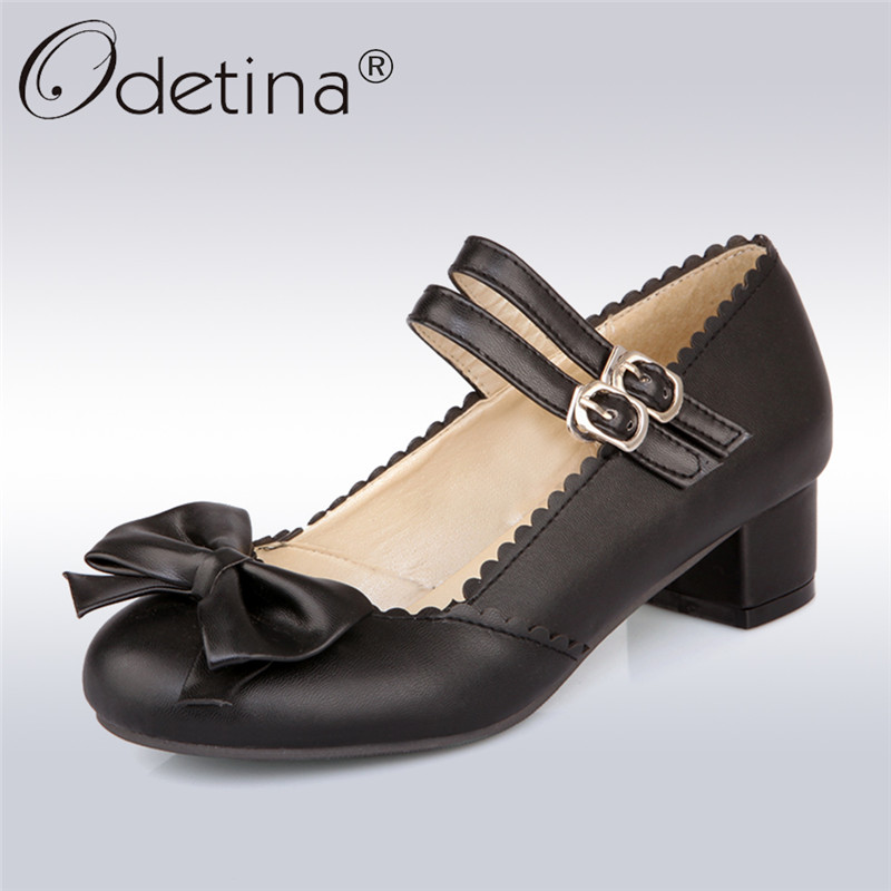 Odetina 2018 New Fashion Women Double Buckle Strap Pumps Bowknot Square Low Heels Mary Janes Shoes Ladies Sweet Pump Big Size 50 xiaying smile woman pumps shoes women mary janes british style fashion new elegant spring square heels buckle strap rubber shoe