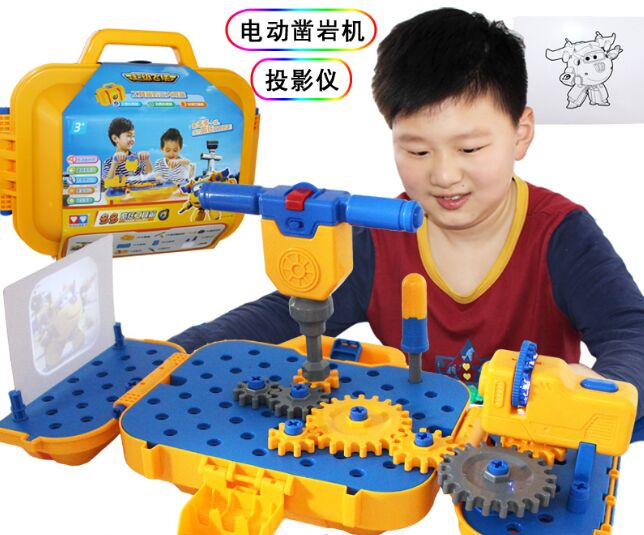 Baby educational toys cool Tool Kit simulation projector storage box toys electrician rock drill classic plastic toy kids tools ...