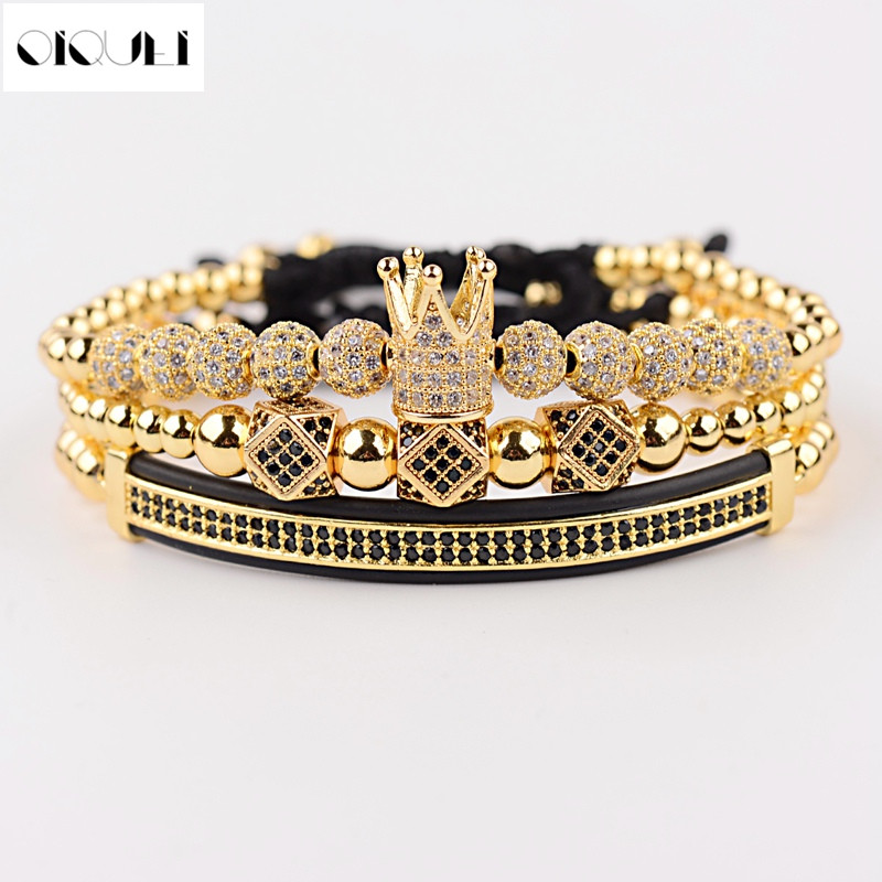 OIQUEI 3pcs /set Hip Hop CZ Polygon Ball Crown Charm Copper Beads Macrame Bracelets&Bangles Set Men Luxury Brand Mens Jewellry