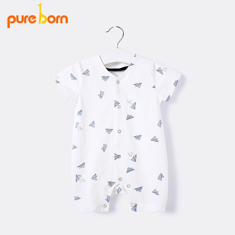 Pureborn Baby Girl Clothes White Baby   Rompers   Newborn Cartoon Plane Baby Boy Summer Clothes Onesie Toddler Baby Costume 2018 New