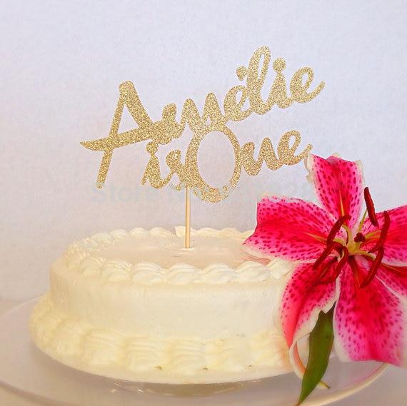 Gold Glitter Birthday Name Paper Cake Topper Birthday Partycake