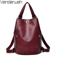 2018 Female backpack mochila feminina casual Multifunction Women Leather Backpack Female Shoulder Bag Sac A Dos Travel Back Pack