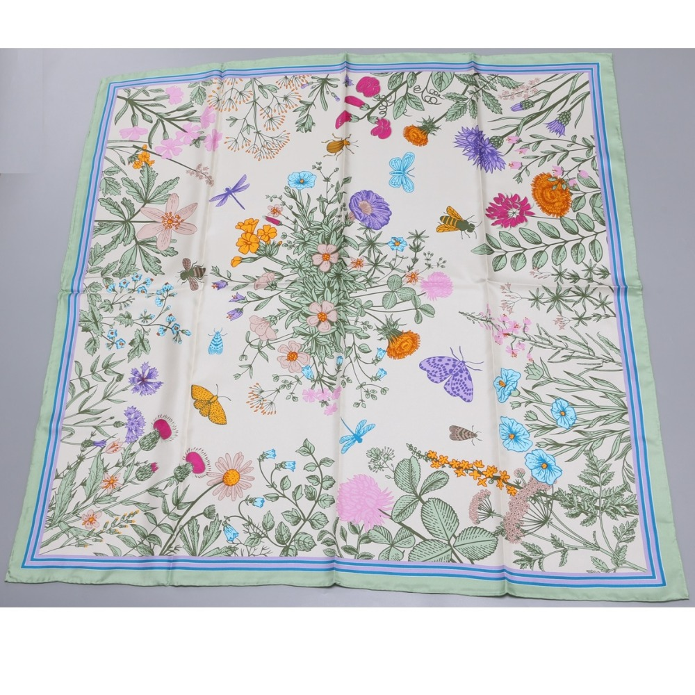 Image 3 - 2018 Floral Print Large Square Silk Scarf Shawl Hijab Foulard 100% Silk Twill Scarf Wraps Women Gifts 88x88cm-in Women's Scarves from Apparel Accessories