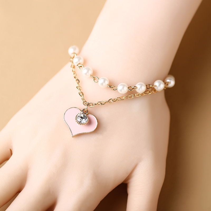 Pink Heart Charm Bracelet Simulated-pearl Double Layers Adjustable Chain Women Bangles & Bracelets Love Gift For Mother & Lovers