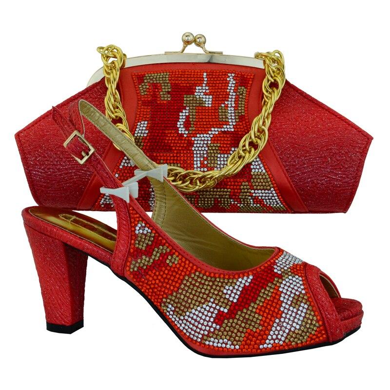 Ciel Chaussures Pu Et Pour Sac Couleur orange Femmes Rouge Ensemble Assortir Africain rouge rose Correspondant Italien Parties À vert 7vy6bYfg