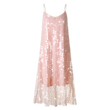 Stylish and Comfortable Sequins Mesh Lace Strap Dress Seaside holiday halter maternity Maternity Wear