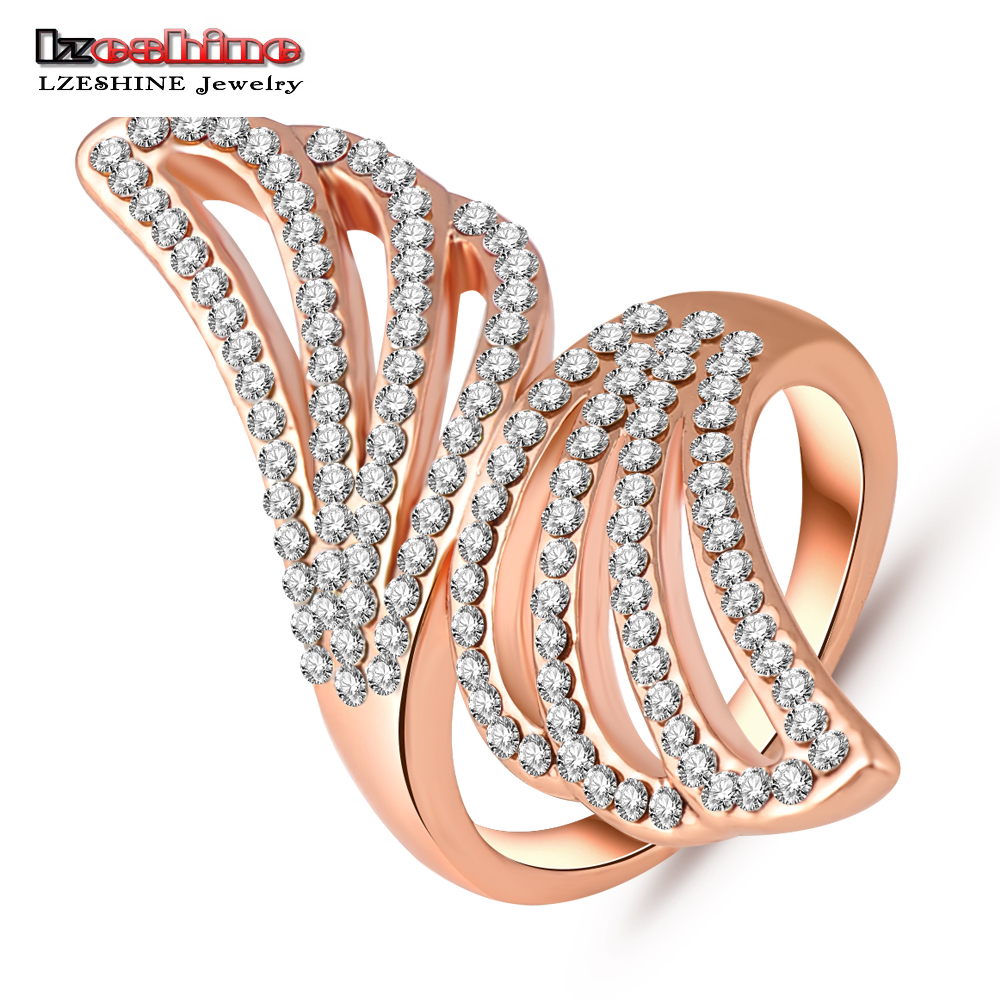 LZESHINE Finger Ring Rose Gold Color Austrian Crystal Angel Wing Engagement Rings Fashion Jewelry Ri-HQ0205