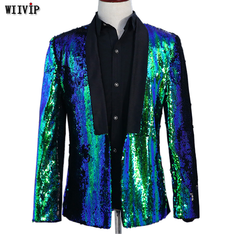 Stage Costume For Men Shiny Gold Sequin Glitter Embellished Jacket Nightclub Prom Suit Blazer Men YW314