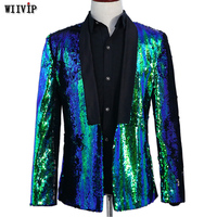 Stage Costume For Men Shiny Gold Sequin Glitter Embellished Jacket Nightclub Prom Suit Blazer Men YW314
