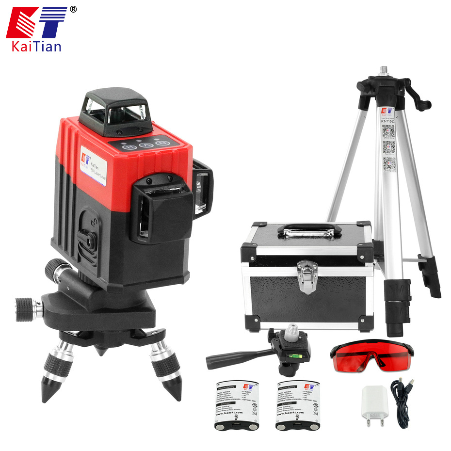 KaiTian 3D Laser Levels Battery 650nm 12 Lines Cross Level with Slash Function and Self Leveling 360 Rotary Red Laser Beam Tools xeast xe 17a new 3d red laser level 8 lines tilt mode self leveling meter 360 degree rotary cross red beam