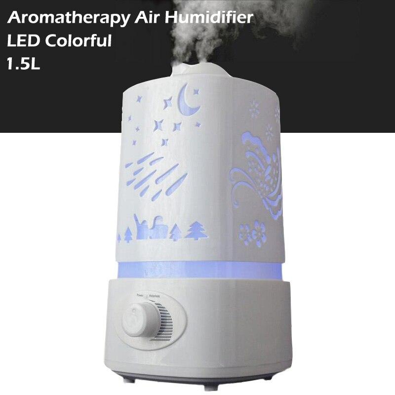 1.5L Aromathérapie diffuseur humidificateur d'air LED Veilleuse Avec Tailler Design humidificateur À Ultrasons Diffuseur D'arôme d'air brumisateur