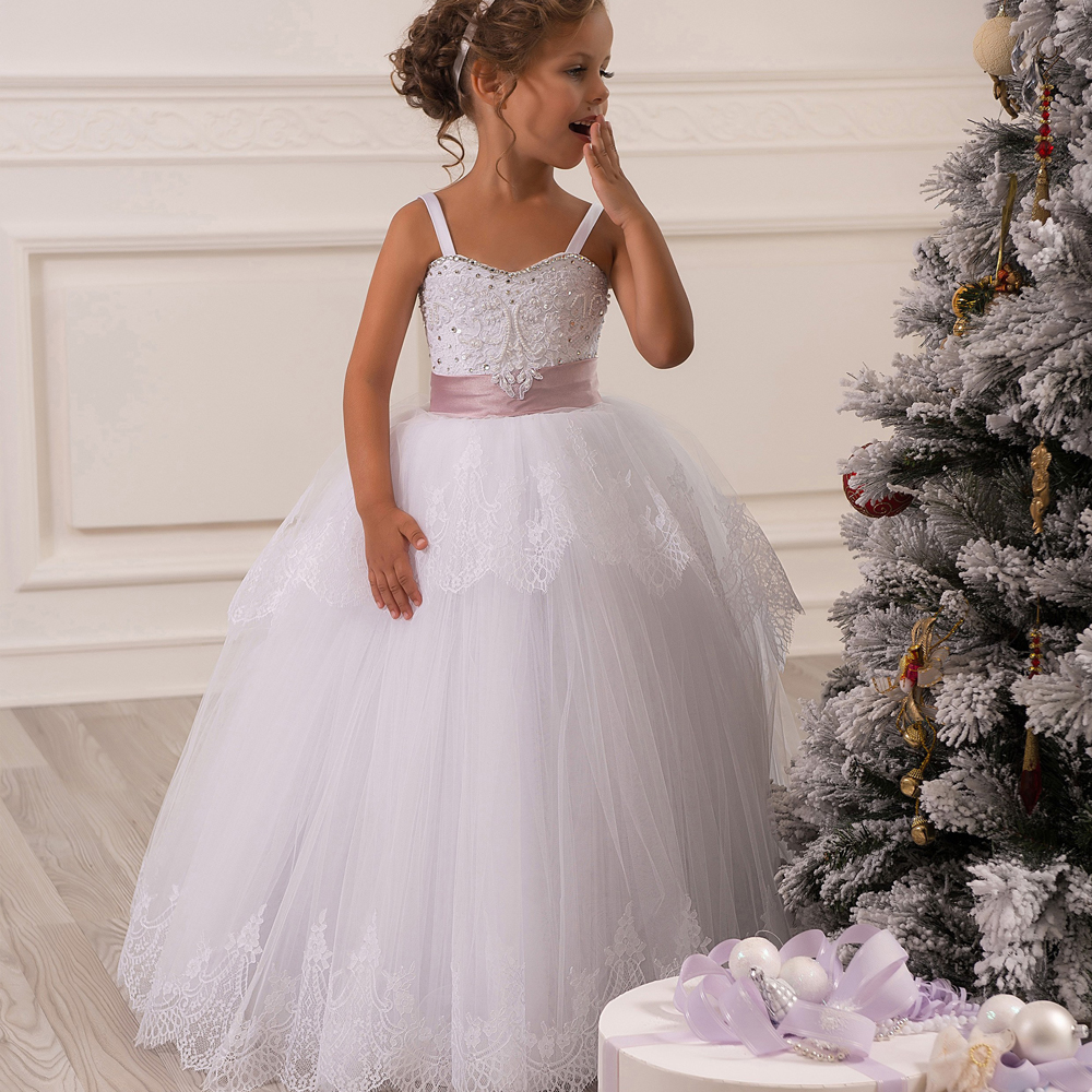 2017 New First Communion Dresses for Girls White Spaghetti Straps Lace Up Beading Ball Gown Pageant Birthday Gowns Custom Made blue pageant dresses for little girls a line spaghetti straps solid appliques crystal lace up flower girl first communion gowns