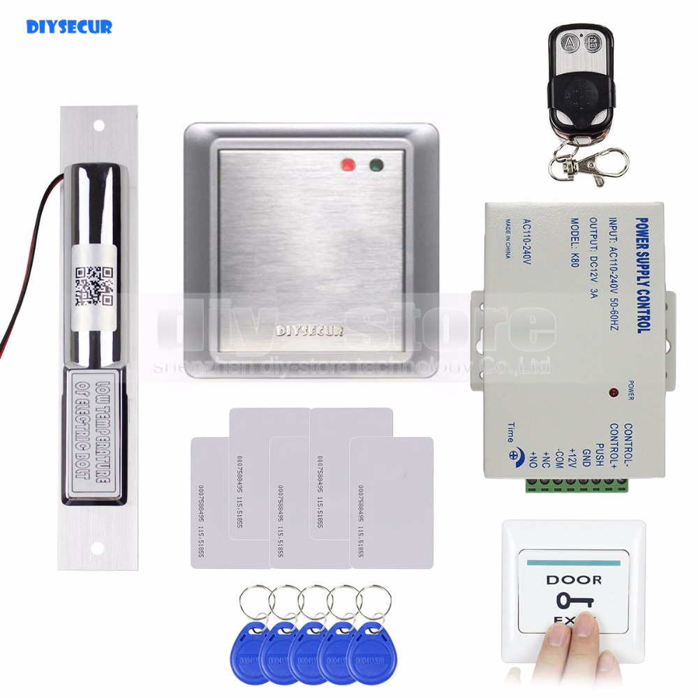 DIYSECUR Electric Bolt Lock Waterproof Remote Controller 125KHz Rfid ID Card Reader Without Keypad Access Control System Kit metal rfid em card reader ip68 waterproof metal standalone door lock access control system with keypad 2000 card users capacity