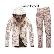 Camouflage Hunting Sets Men Winter outdoor Sport Hunting Fishing Softshell Jacket Waterproof Windbreaker +Pants Hunting Sets