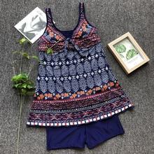 New Bikini Hot Sale Womens Print Swimsuit Fat Woman Large Size Tri-Color Conservative S-5XL