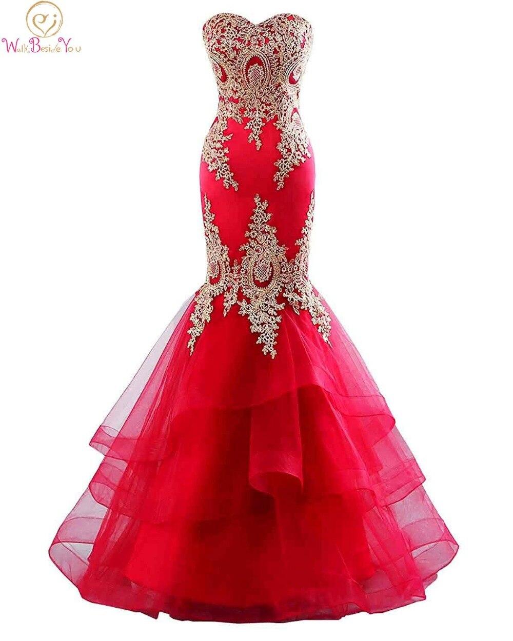 Élégant Sweethreart Cou robes de soirée 2019 Rouge Sirène Appliques robe de soirée Femmes Formelle Parti Longue robe suknie wieczorow