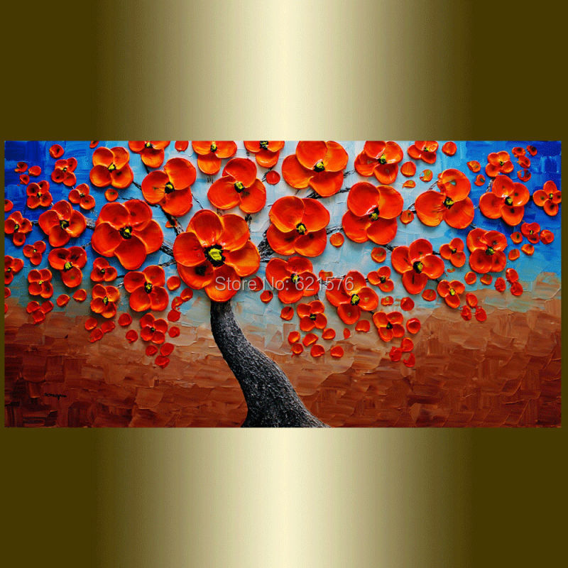 Hand painted modern home decoration blue brown red flower tree wall ...