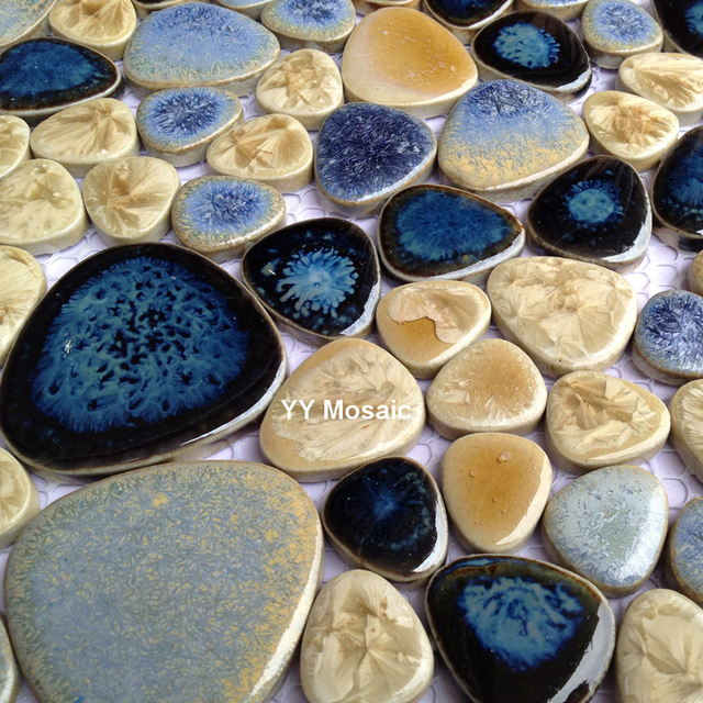 Rétro Fambe Marine Bleu Beige Carreaux De Céramique Mosaïque Pour - Carrelage piscine et tapis bleu foncé