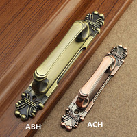 280mm European Retro Fashion Antique Brass Wooden Door Handles Antique Copper Unfold Install Gangway Double Acting