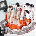 110*110 CM lenços de Seda Naturais de Luxo Marca Mulheres Inverno Grande Lenço Quadrado Echarpe Foulard Xailes Impresso Bandana Lenços Pareol Hijab S6