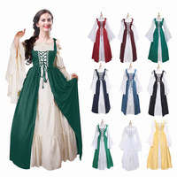 Adult Medieval Renaissance Vintage Dress Women Bundle Waist Palace Dress Princess Cosplay Carnival Halloween Party Costume