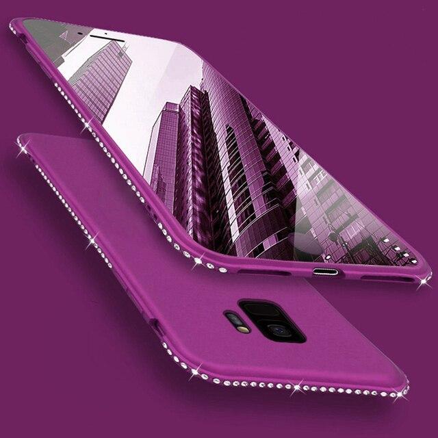 Bling Kim Cương Mềm Silicone Trường Hợp đối Với Samsung Galaxy A6 A8 Cộng Với J4 J6 A7 2018 A750 A3 A5 J1 2016 j3 J5 J7 2017 Trường Hợp Cover Quay Lại