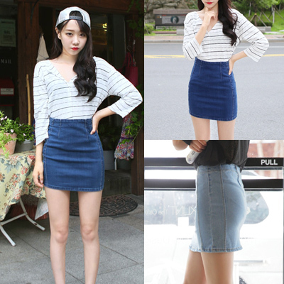 mini women denim skirt solid saia feminina women work wear 2015 ...