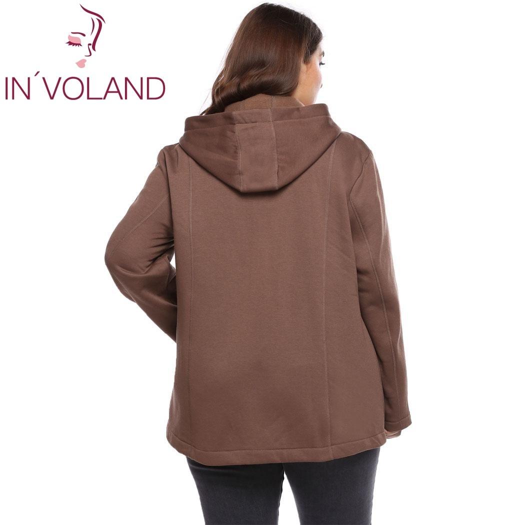 IN'VOLAND Women Jacket Coat Plus Size XL-5XL Autumn Casual Hooded Long Sleeve Zipper Fleece Winter Outwear Large Jacke Big Size 4