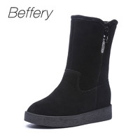 Beffery Women S Winter Boots Suede Leather Round Top Waterproof Snow Boots Warm Plush Wedges Shoes