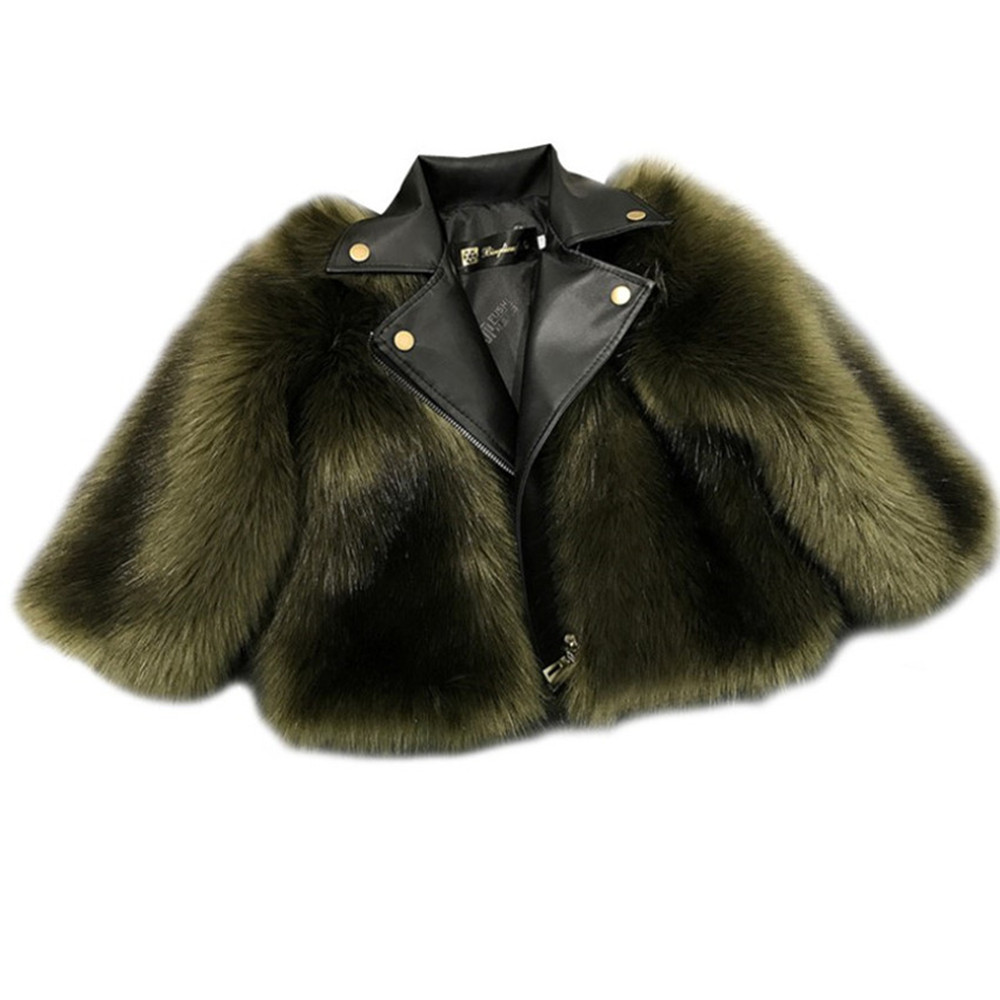 все цены на Children Faux Fur Coat Baby Girl Winter Coats 2018 New Fashion Imitation Fur Toddler Girls Clothes Kids Outerwear Leather Jacket