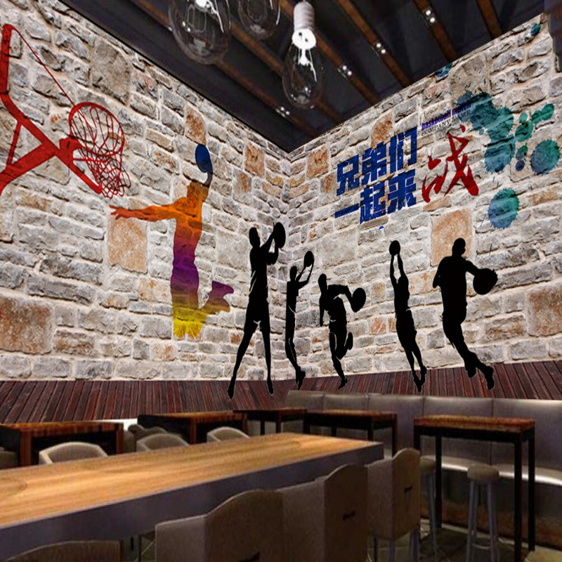 Us 15 23 38 Off Custom 3d Wallpaper High Definition Basketball Graffiti Brick Wall Shadow Mural Painting Gymnasium Background Wallpaper In