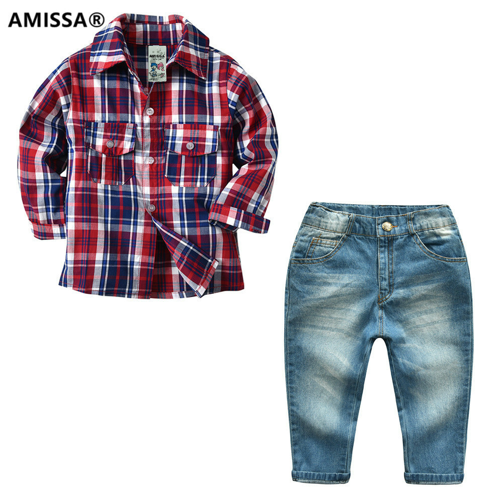Amissa Boy Set Plaid Shirt Jeans Suit Children Long Sleeved Trousers Two Pieces Kids Clothes Clothing Casual Cotton Boys