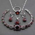 925 Sterling Silver Cheerful Women Wedding 4PCS Jewelry Sets Red Garnet Ring Size 6/7/8/9/10 Bracelet Length 18CM JS40