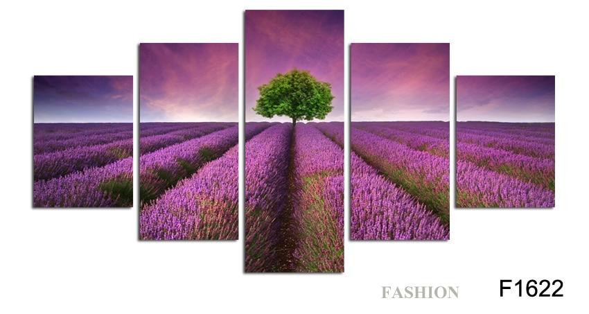 NO okvir 5pcs Provansa sivka modularne slike cvetje platno slikarstvo - Dekor za dom - Fotografija 6