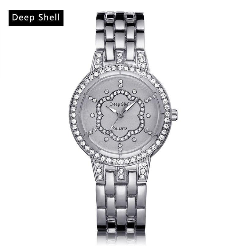 Deepshell Brand Gold Women Bracelet Watches Ladies Crystal Quartz Watch Women Wristwatches Relogio Masculino Dropship #N02