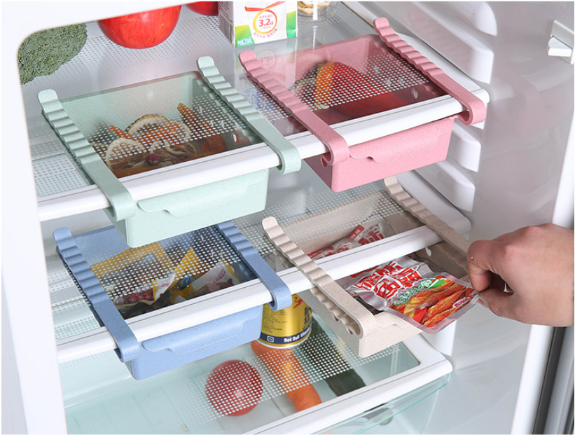 Image 1 - Kitchen Organizer Adjustable Refrigerator Storage Rack Fridge Freezer Shelf Holder Pull out Drawer Organiser Space Saver-in Storage Drawers from Home & Garden