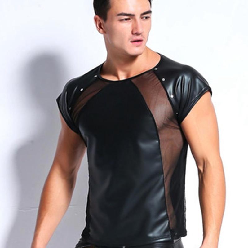 Men Sport Tank Top Black Faux Leather Mens Fashion Vest Sleeveless T Shirt S M L