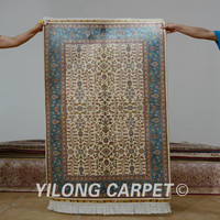 Yilong 3'x4.5' Antique persian silk beige carpet hand knotted types of oriental rugs (0555)