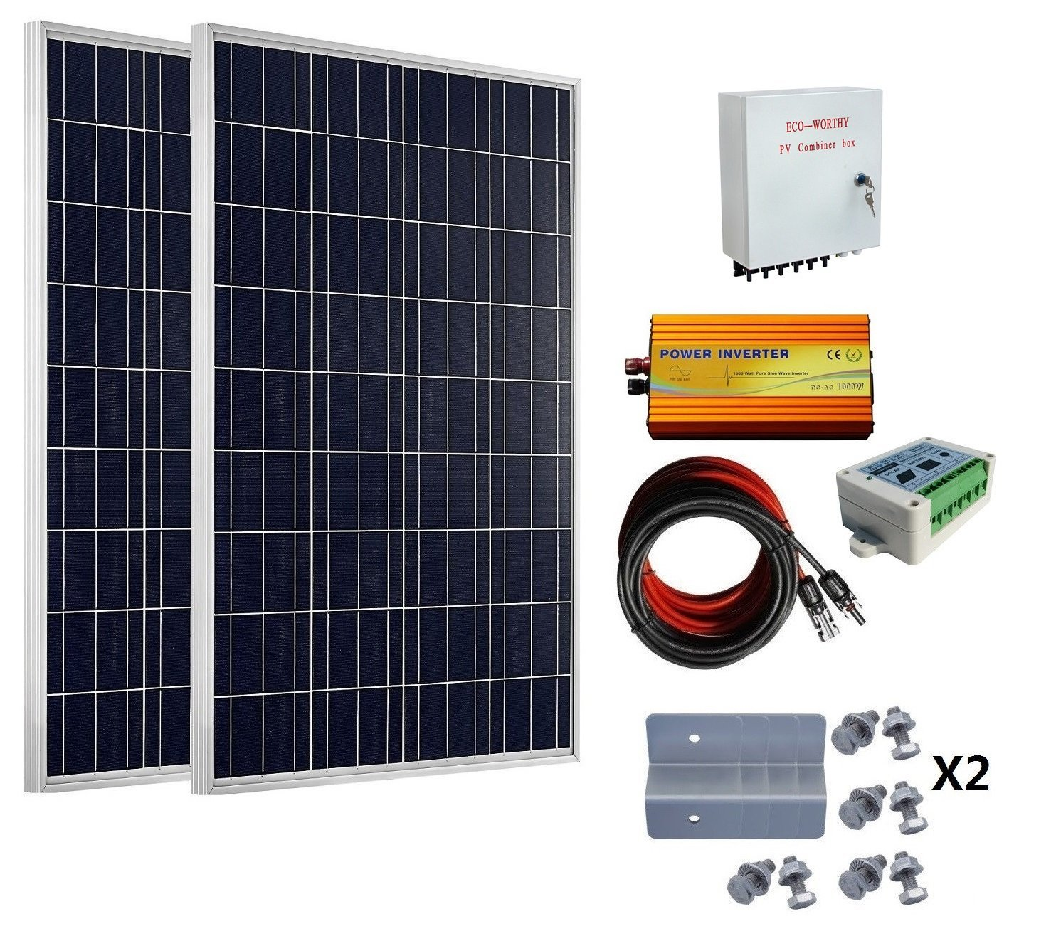 200W Home Kit 100W 12V Solar Panel 6 String Combiner Box 1KW 12V-110V Inverter Solar Generators